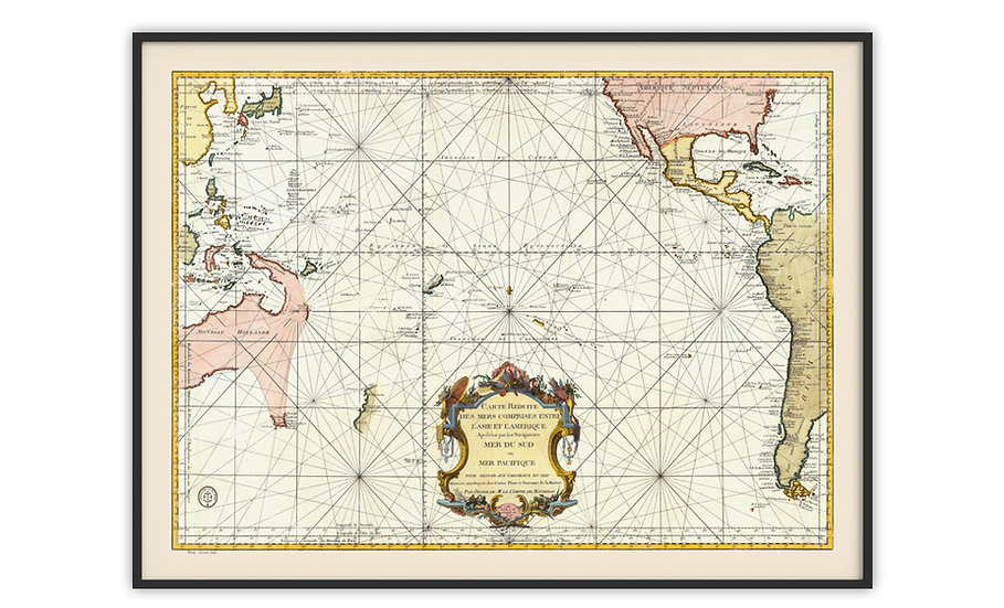 מפה עתיקה ממוסגרת במגוון מידות - מפה ימית 1776