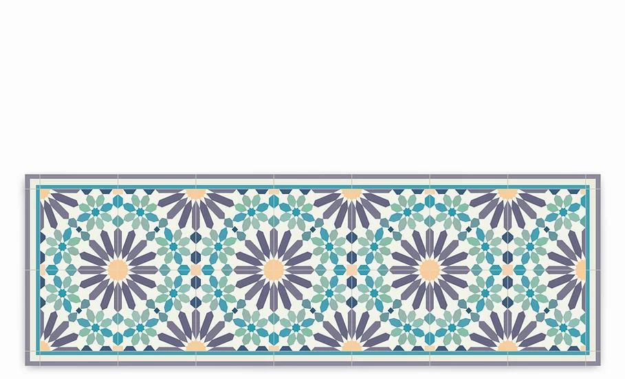 Marrakesh - Vinyl Table Runner - Purple and green Moroccan tiles pattern