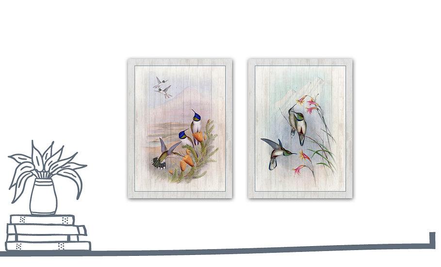 תמונת עץ זוג איורי ציפורים1 במגוון מידות