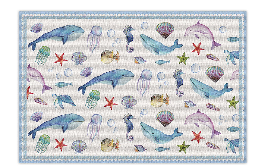 שטיח פיויסי מתחת למים כחול לילדים - במגוון מידות