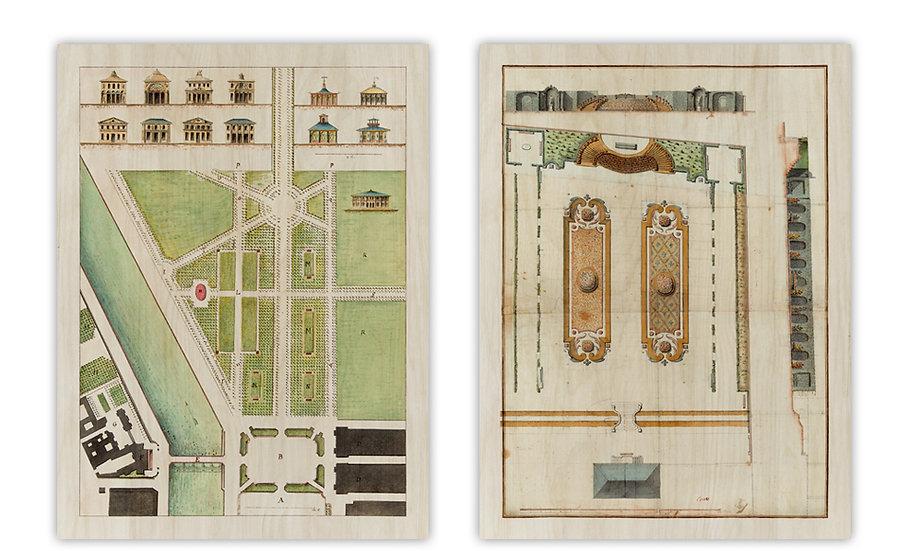 צמד שרטוטי אדריכלות נוף - מודפסת על לוח עץ