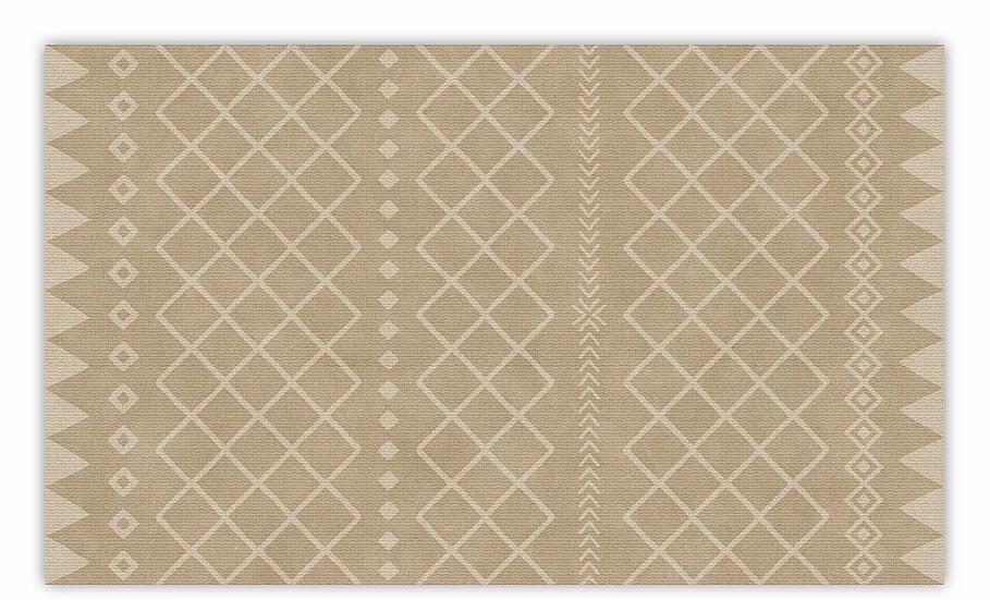 Willow - Vinyl Floor Mat - Beige graphic pattern