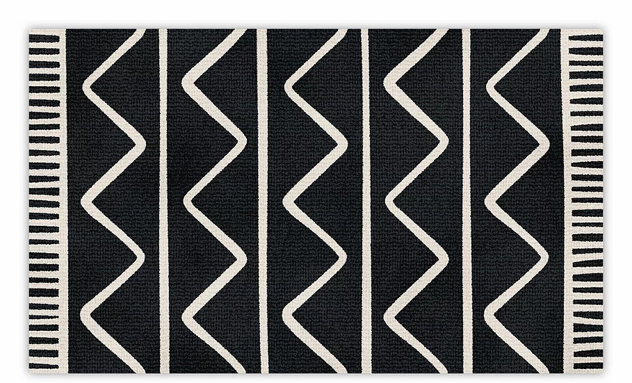 Zigzag - Vinyl Floor Mat - Black graphic pattern