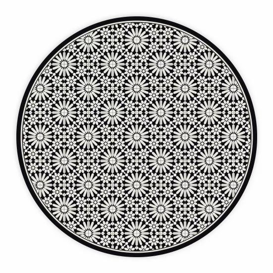 Round Tangier - Vinyl Floor Mat - Black Moroccan tiles pattern