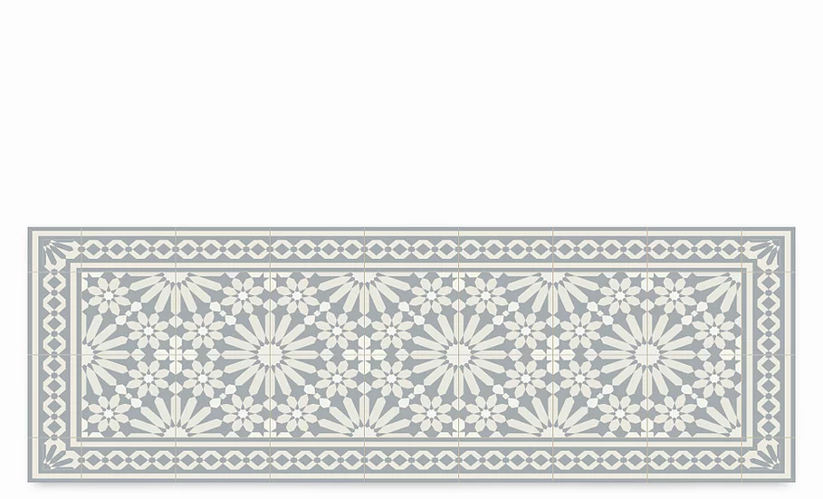 Tangier - Vinyl Table Runner - Light gray Moroccan tiles pattern