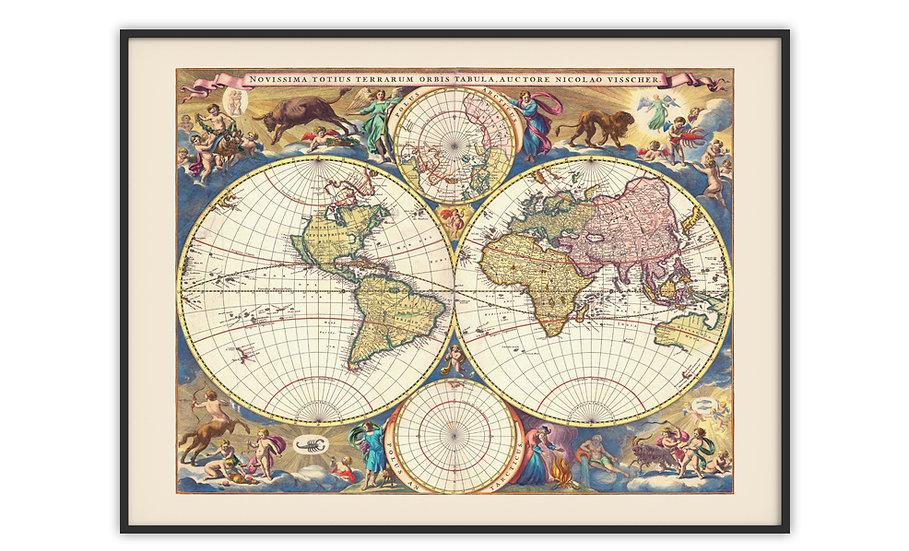 מפה עתיקה ממוסגרת במגוון מידות - מפת העולם 1695