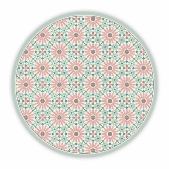 Round Marrakesh - Vinyl Floor Mat - Pink and green Moroccan tiles pattern