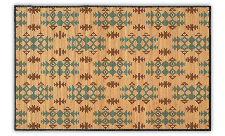 Geo - Bamboo Mat - Blue ethnic pattern