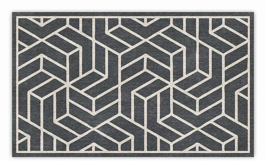 Chelsea - Vinyl Floor Mat - Dark gray graphic pattern