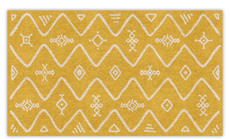Serena - Vinyl Floor Mat - Yellow ethnic pattern