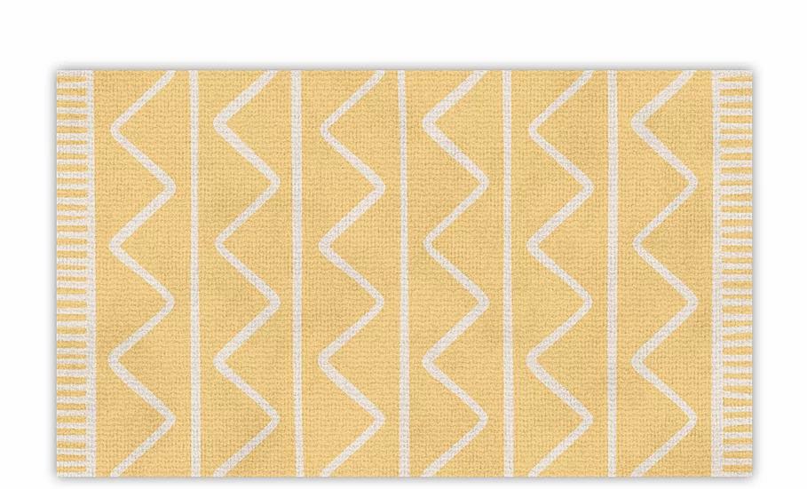 Zigzag - Vinyl Floor Mat - Yellow graphic pattern