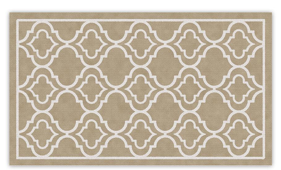 Delhi - Vinyl Floor Mat - Beige classic ethnic pattern