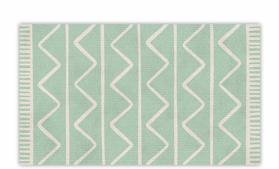 Zigzag - Vinyl Floor Mat - Green graphic pattern