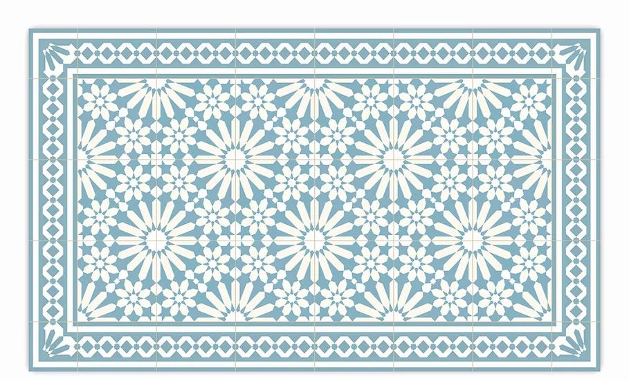 Tangier - Vinyl Floor Mat - Light blue Moroccantiles pattern