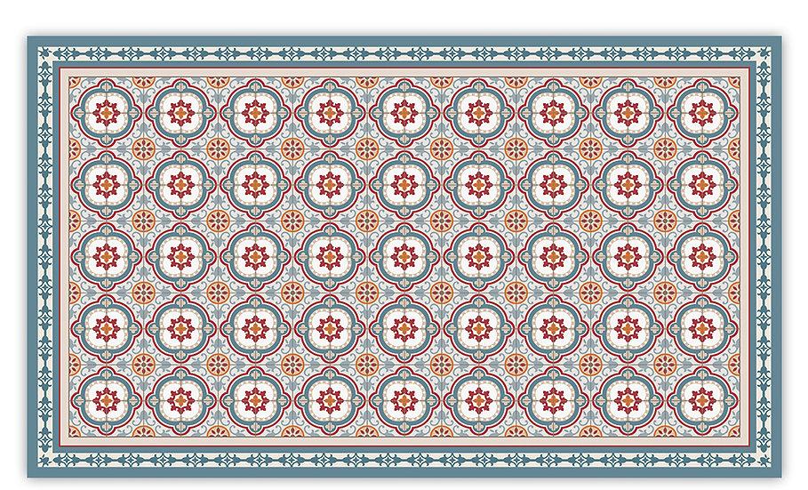 Isabella - Vinyl Floor Mat - Blue and red Spanish tiles pattern