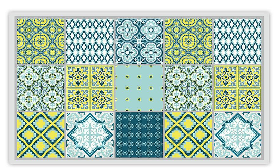 Mix - Vinyl Floor Mat - Blue mixed tiles pattern