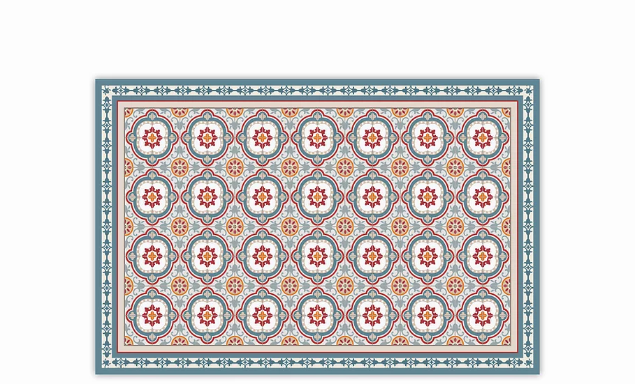 Isabella - Vinyl Table Placemat - Blue and red Spanish tiles pattern