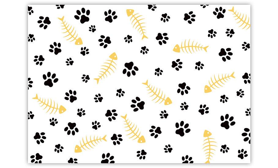 Fish Bones - Vinyl Pet Placemat - Yellow animals theme pattern