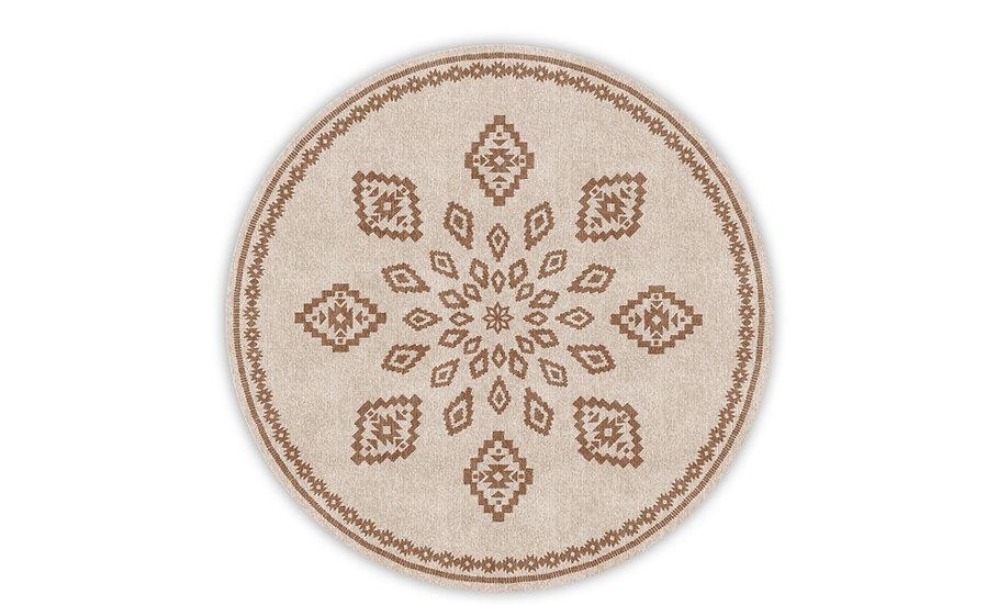 Round Samara - Vinyl Floor Mat - Beige ethnic pattern