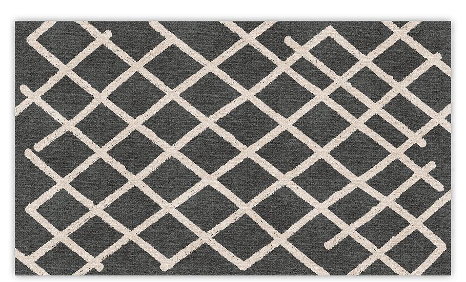 Isfahan - Vinyl Floor Mat - Dark gray graphic pattern
