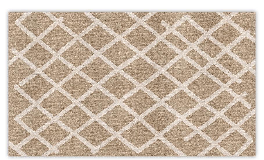 Isfahan - Vinyl Floor Mat - Beige graphic pattern