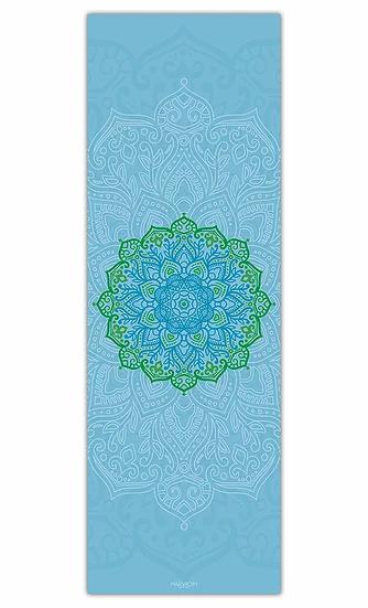 מזרון יוגה מנדלה ירוקה על רקע כחול במידה 60/180 - עודפים
