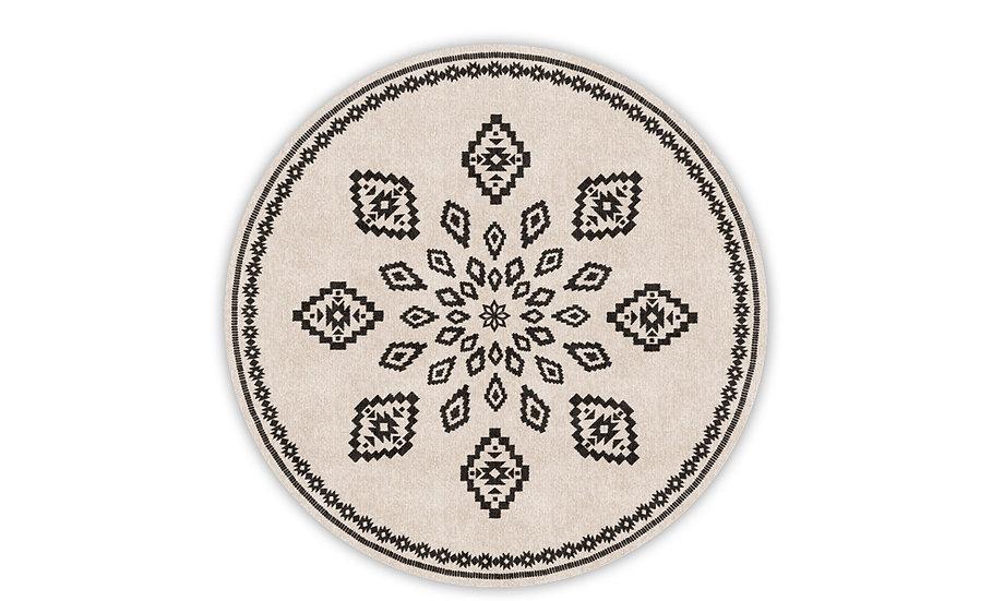 Round Samara - Vinyl Floor Mat - Beige and black ethnic pattern