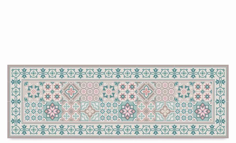 Retro - Vinyl Table Runner - Turquoise mixed tiles pattern