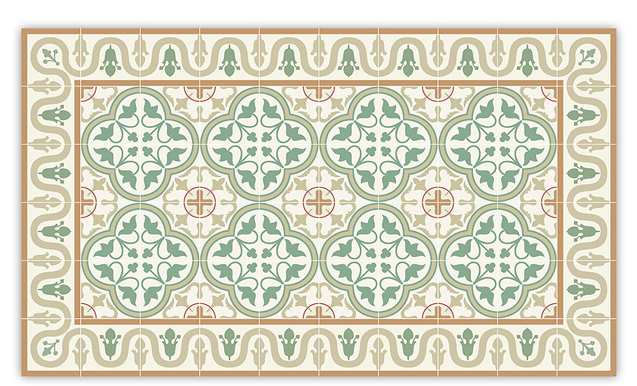 Andrea - Vinyl Floor Mat - Green Spanish tiles pattern