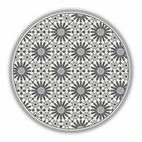 Round Marrakesh - Vinyl Floor Mat - Gray Moroccan tiles pattern