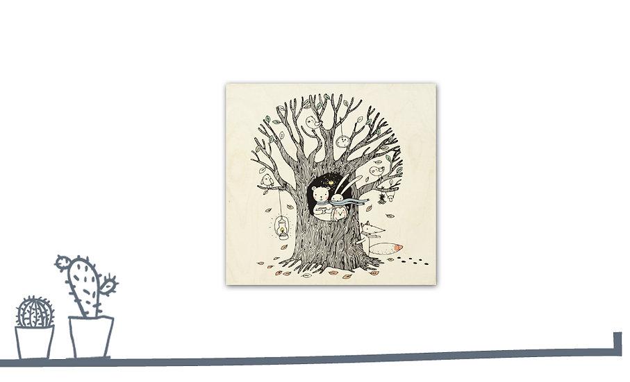 """תמונת עץ חיות בשלכת 35/35 ס""""מ"""