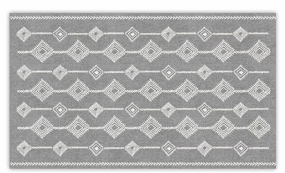 Shiraz - Vinyl Floor Mat - Gray ethnic pattern