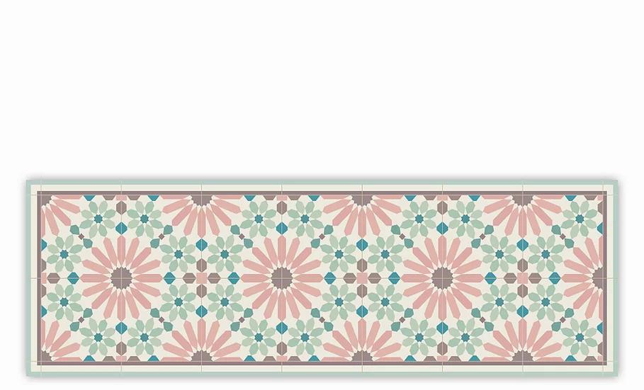 Marrakesh - Vinyl Table Runner - Pink and green Moroccan tiles patter