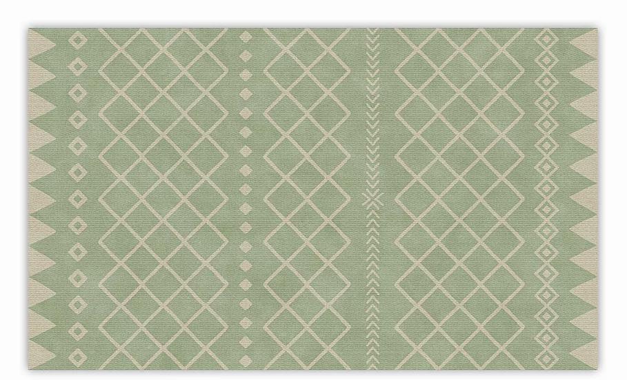 Willow - Vinyl Floor Mat - Green graphic pattern