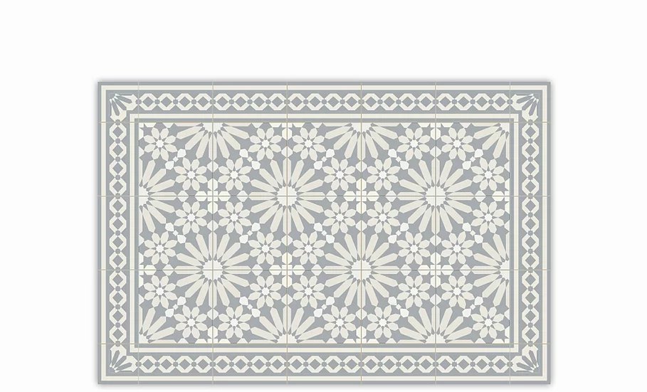 Tangier - Vinyl Table Placemat - Light gray Moroccan tiles pattern