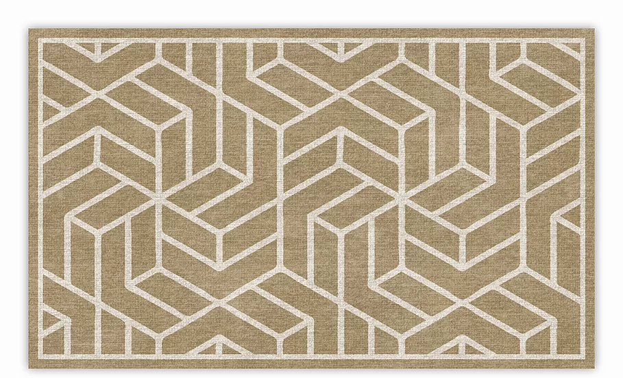 Chelsea - Vinyl Floor Mat - Beige graphic pattern