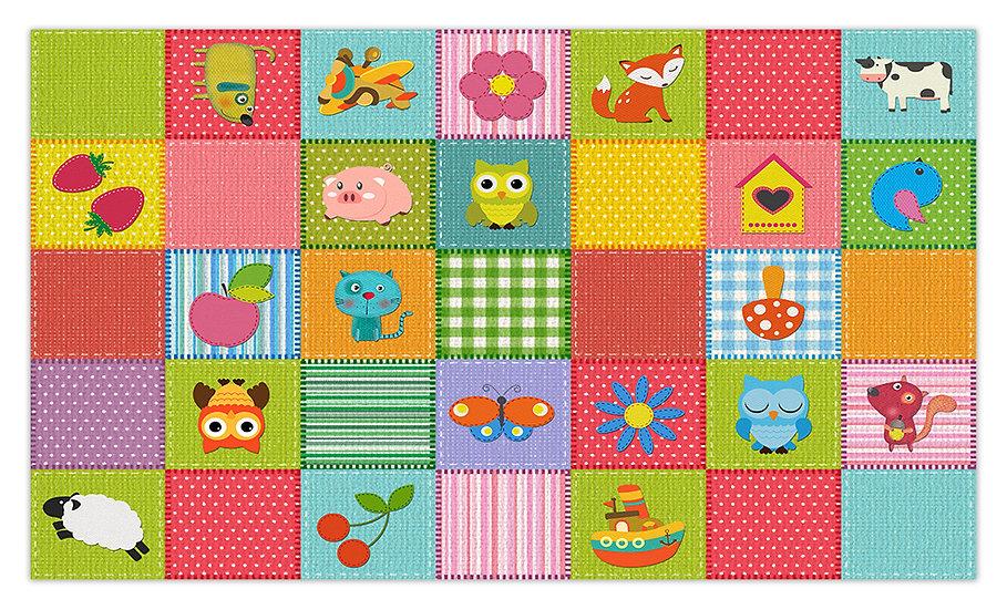Toy Blocks - Vinyl Floor Mat - Colorful playful theme