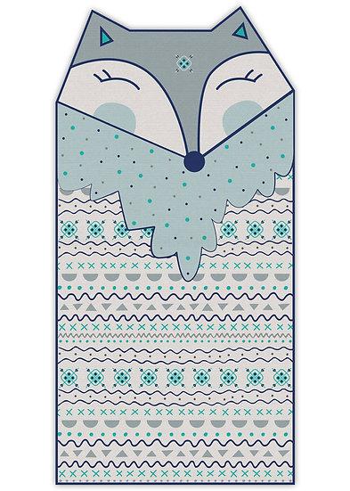 שטיח ארוך בצורת שועלה בגוון כחול - במגוון מידות