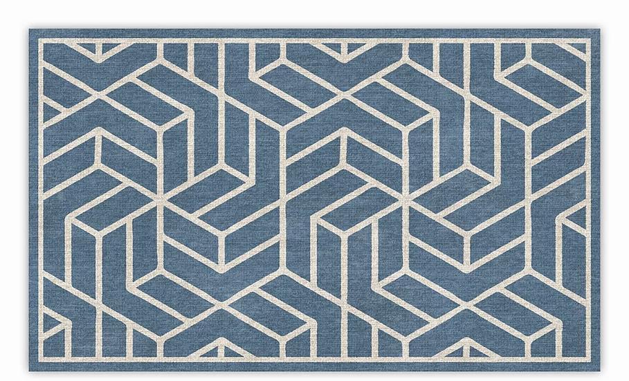 Chelsea - Vinyl Floor Mat - Blue graphic pattern