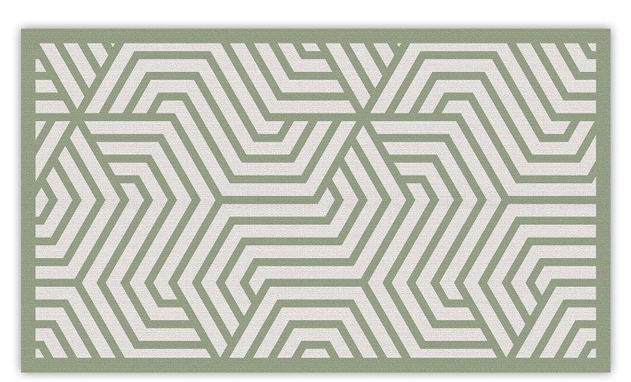 Manhattan - Vinyl Floor Mat - Green graphic pattern