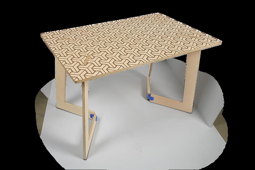 """שולחן עץ מודפס - דגם קאריה תלת מימד חום 118/74 ס""""מ"""