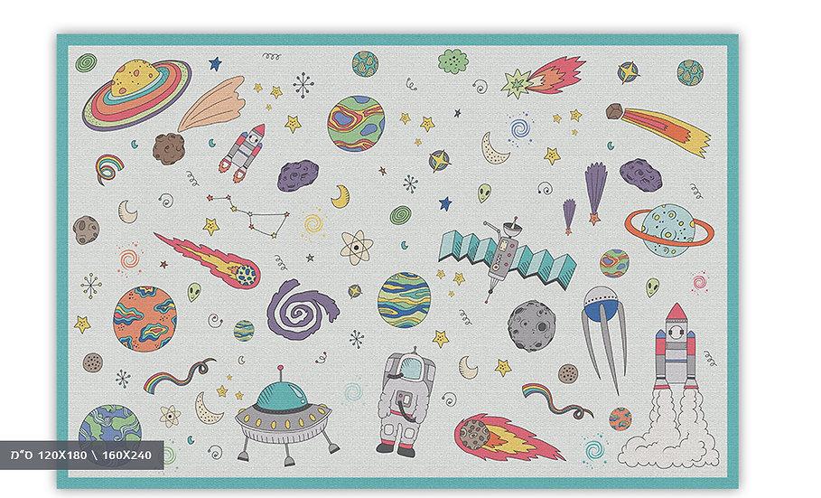 שטיח פיויסי חלל תכלת לילדים - במגוון מידות