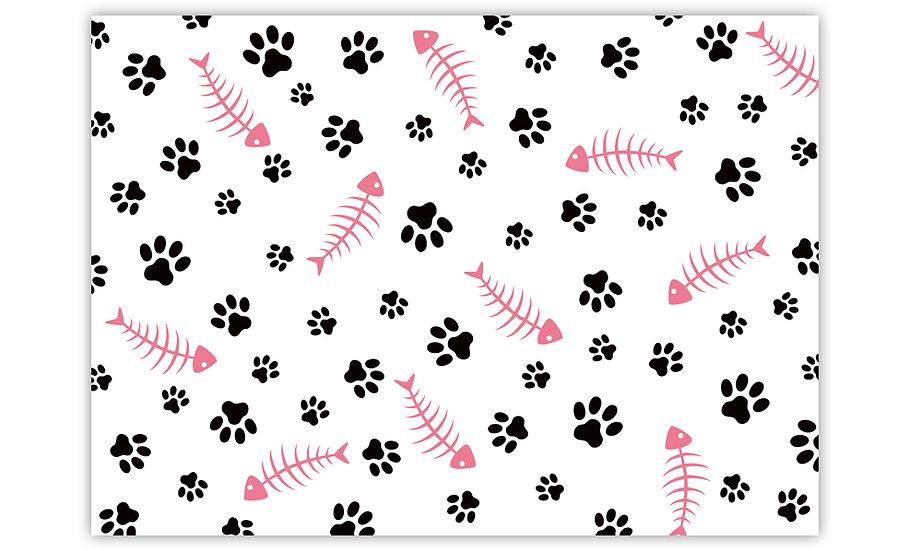 Fish Bones - Vinyl Pet Placemat - Pink animals theme pattern