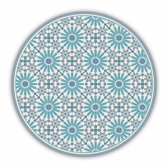 Round Marrakesh - Vinyl Floor Mat - Blue and gray Moroccan tiles pattern