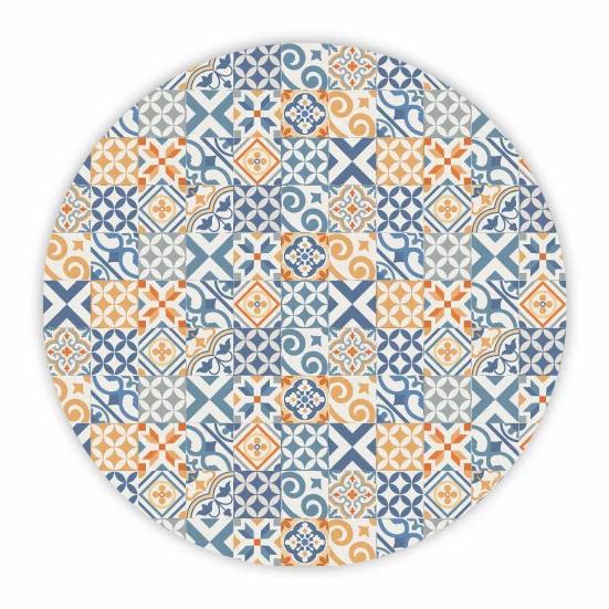 Round Portugal - Vinyl Floor Mat - Blue and orange mix tiles pattern