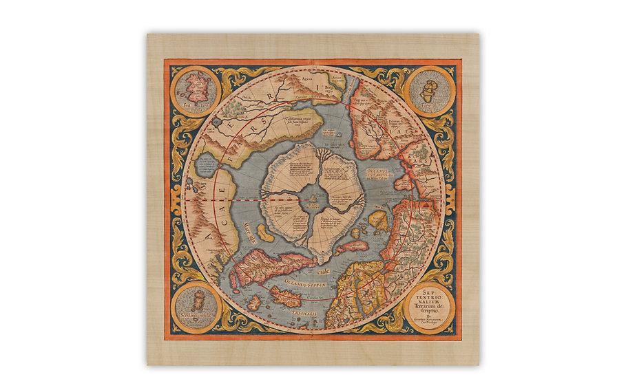 מפת הקוטב הצפוני, מרקטור, 1554 - מודפסת על לוח עץ