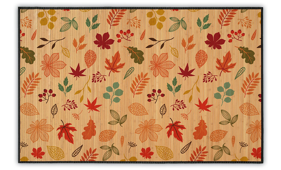 Autumn - Bamboo Mat - Colorful botanical pattern
