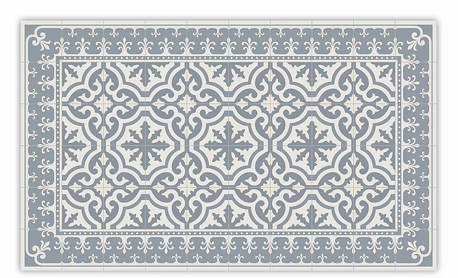 Tuscany - Vinyl Floor Mat - Light gray classic tiles pattern