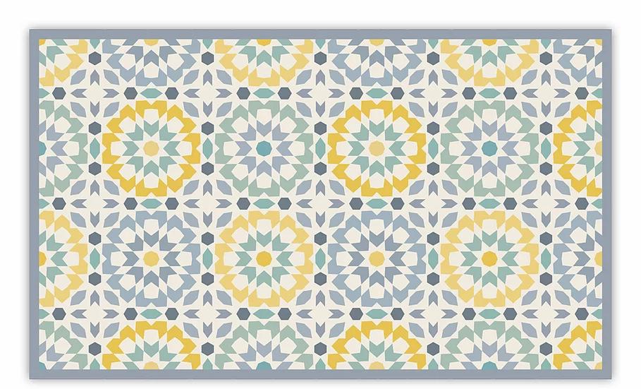 Morocco - Vinyl Floor Mat - Gray and yellow Moroccan tiles pattern
