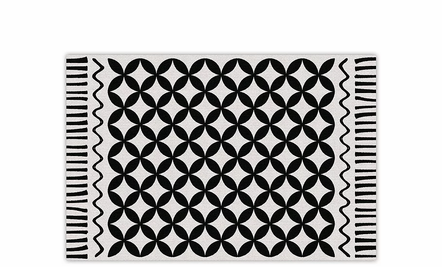 Venus - Vinyl Table Placemat - Black and white graphic pattern
